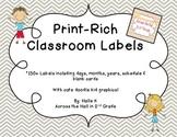 Chevron Print-Rich Classroom Labels with Doodle Kids