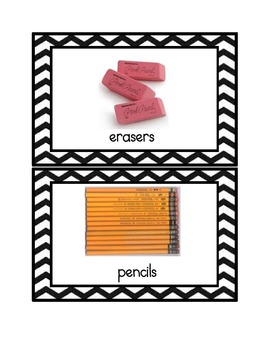 Chevron Print School Supply Labels