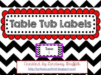 Chevron Print Table Tubs Labels