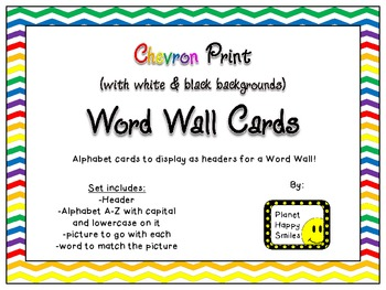 Word Wall Alphabet Cards ~ Chevron Print Multi Color (white & black background)