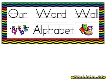 Word Wall Alphabet Cards (large) ~ Chevron Print Multi Color