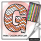 Chevron Printable Bulletin Board Letters - Coloring Alphabet ClipArt PNG