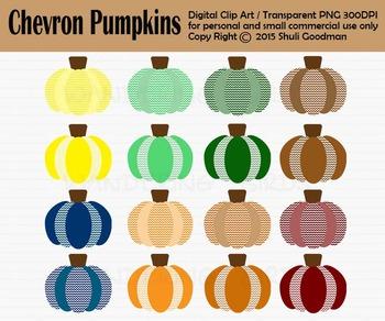Chevron Pumpkin clip art - Chevron style