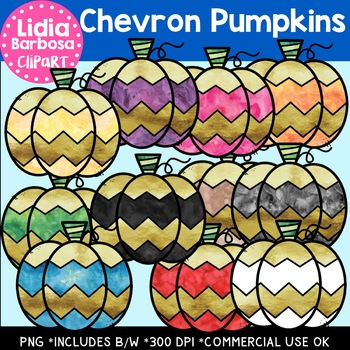 Chevron Pumpkins- Digital Clipart