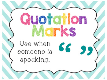 Chevron Punctuation & Parts of Speech Posters