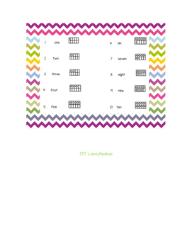 Chevron Quick Reference Numbers 1-10 with Ten Frame