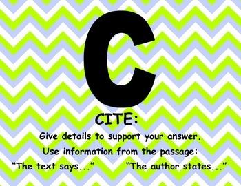 Chevron R.A.C.E.R. Reading Response Strategy Posters