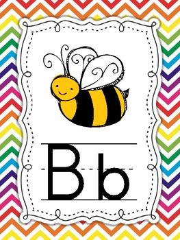 Chevron Rainbow themed Alphabet ABC Posters