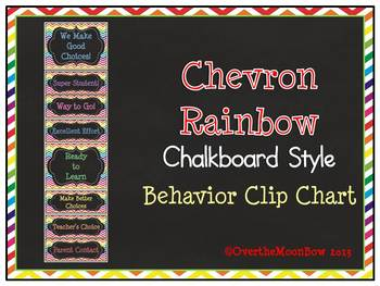 Chevron Rainbow Chalkboard Style Behavior Clip Chart