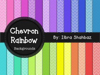 Chevron Rainbow Digital Paper Backgrounds