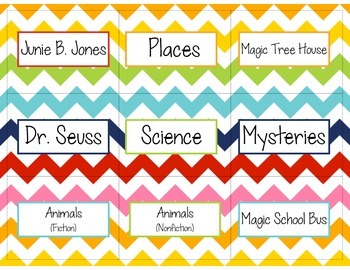 Chevron Rainbow Library Labels!