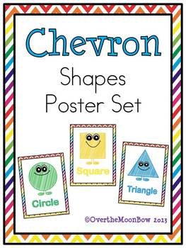 Chevron Rainbow Shapes Poster Set