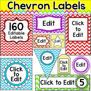Chevron Theme Labels - Rainbow Theme