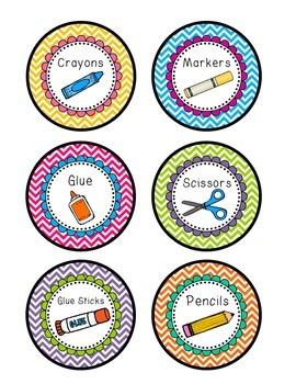Editable Chevron Round Supply Labels