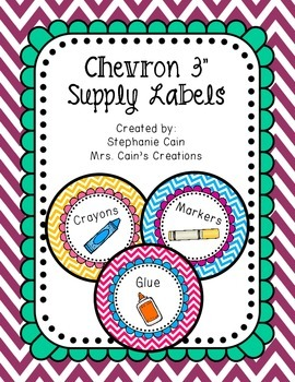 Editable Chevron Round Supply Labels
