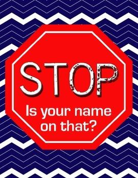 Chevron STOP Sign Name Reminder