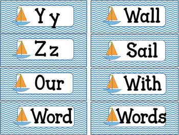 Chevron Sailboat Word Wall Letters