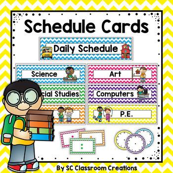 Chevron Schedule Cards-Classroom Decor