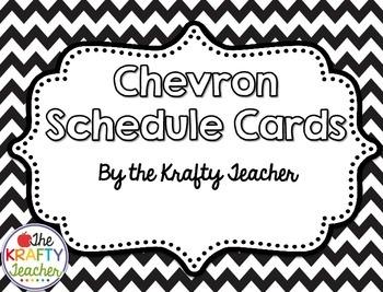 Black & White Chevron Schedule Cards - Back to School, August