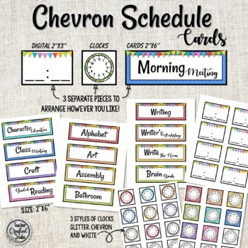 Rainbow Chevron Schedule Cards and Times
