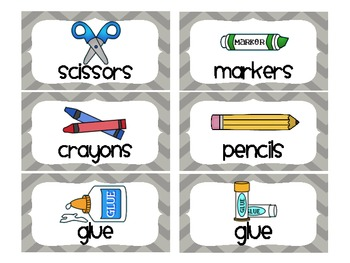 Chevron School Supply Labels For Everything Gray By