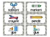 Chevron School Supply Labels for Everything! (Gray)