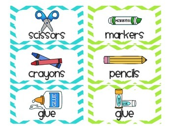 Chevron School Supply Labels for Everything! (Lime Green & Aqua Blue)