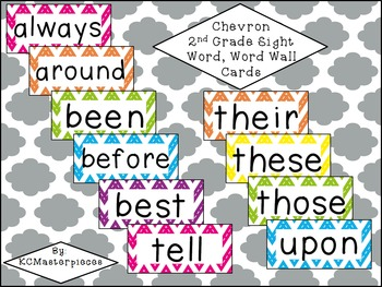 Chevron Second Grade Sight Word / Word Wall Cards