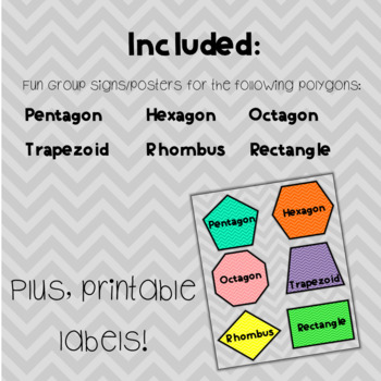 Chevron Shapes (Polygons) Group Signs and Labels