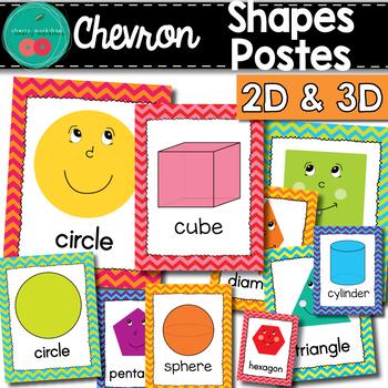 Chevron Shapes Posters - Chevron Classroom Decor - Shapes Posters