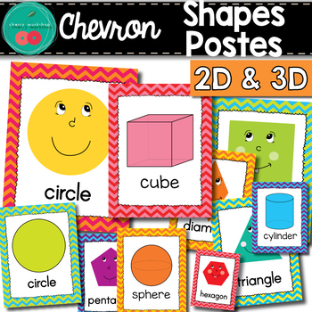 Chevron Shapes Posters - Chevron Classroom Decor - Shapes Posters