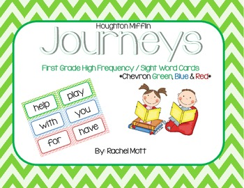 Chevron Sight Word / High Frequency Word Wall Cards for First Grade  - Journeys