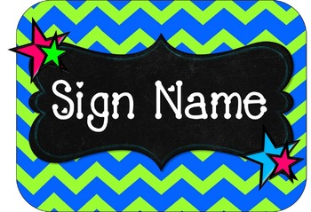 Chevron Signs-green and blue with stars