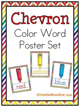 Chevron & Silly Crayons Color Words Poster Set