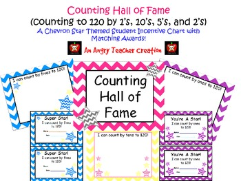 Chevron Skip Counting to 120 Hall of Fame Incentive Signs with Matching Awards