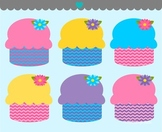Spring cupcakes chevron clipart commercial use