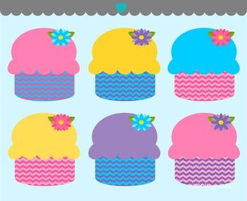Chevron Spring Cupcakes Clip Art