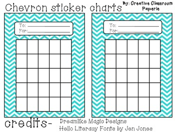 Chevron sticker charts by creative classroom paperie tpt