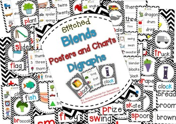 Chevron Stitched **Blend & Digraph Posters and Charts**