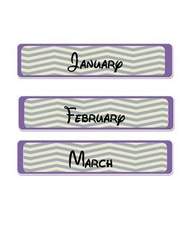Chevron Stripe Months of the Year