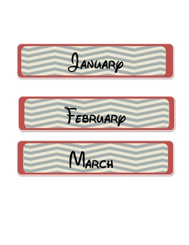 Chevron Stripe Months of the Year