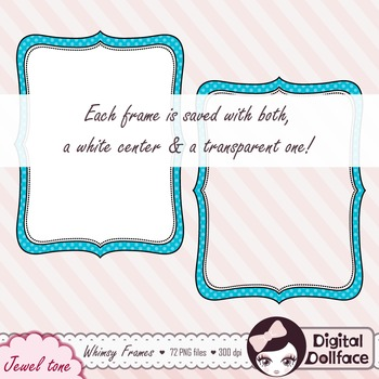 Chevron, Stripe & Polka-Dot Doodle Frame Clip Art, Digital Labels