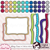 Chevron, Stripe & Polka-Dot Doodle Frame Clip Art, Digital Labels