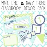 Chevron & Stripes EDITABLE Decor Pack - mint, green, & navy theme!