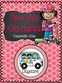 Chevron Stripes and Polka Dots Transportation Cards- Pinkish/Red