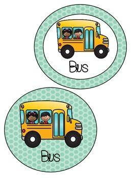 Chevron Stripes and Polka Dots Transportation Circles