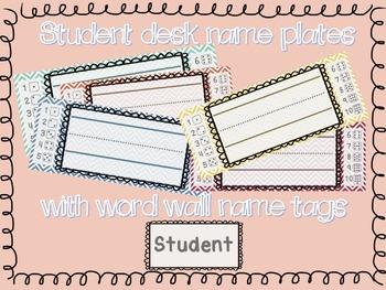 Chevron Student Desk Name Plates with Editable Word Wall Tag