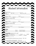 Chevron Student Information Packet- Back to School