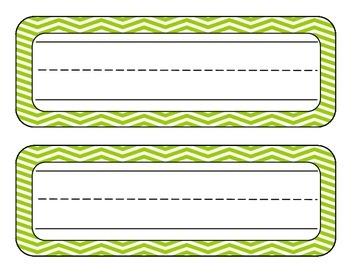 Chevron Student Name Plates (Bright blue, Lime, Grey)