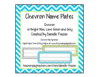 Chevron Student Name Plates (Bright blue, Lime, Grey)